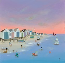 Kayaks 'n' Kites by Lucy Young -  sized 20x20 inches. Available from Whitewall Galleries